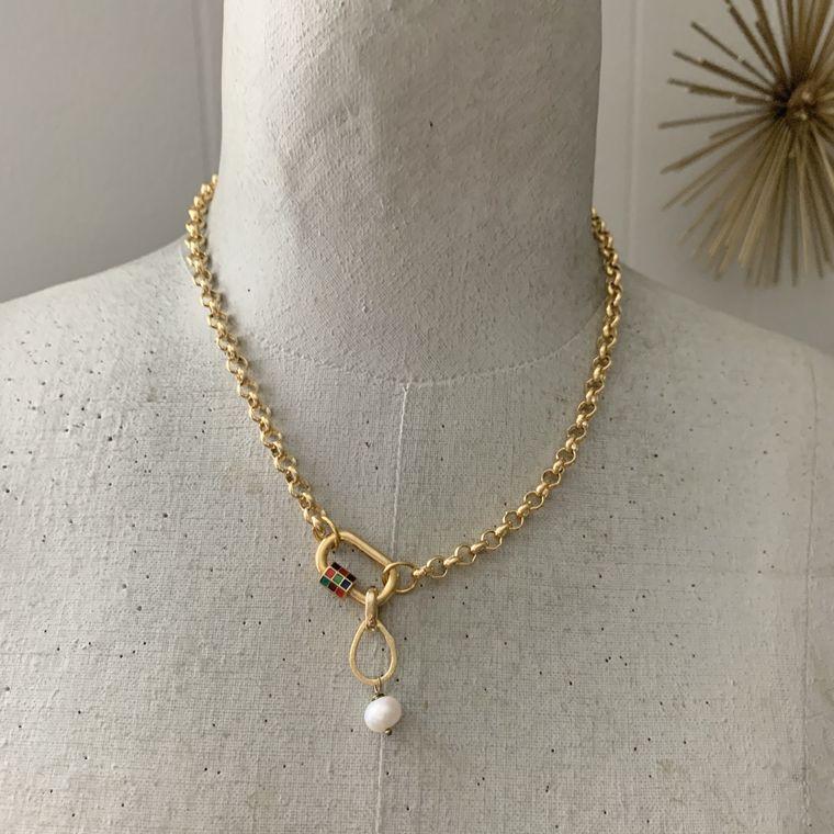 Enameled Carabiner Necklace