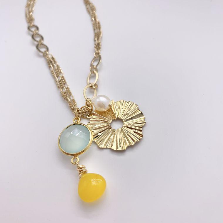 Pastel Gemstone Charm Necklace