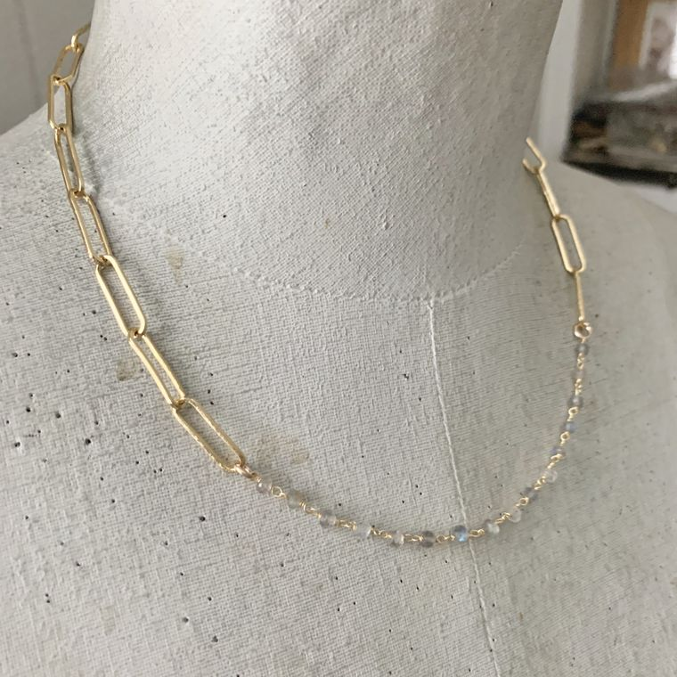 Double Duty Gemstone Chain Necklace