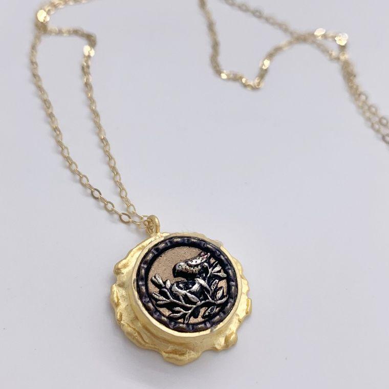 Antique Bird Button Necklace no2
