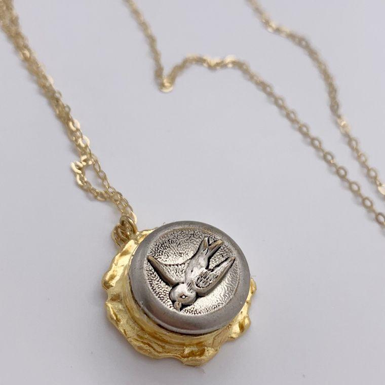 Antique Bird Button  Necklace