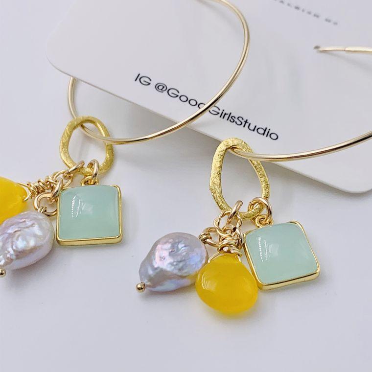 Gemstone Charm Hoop Earrings