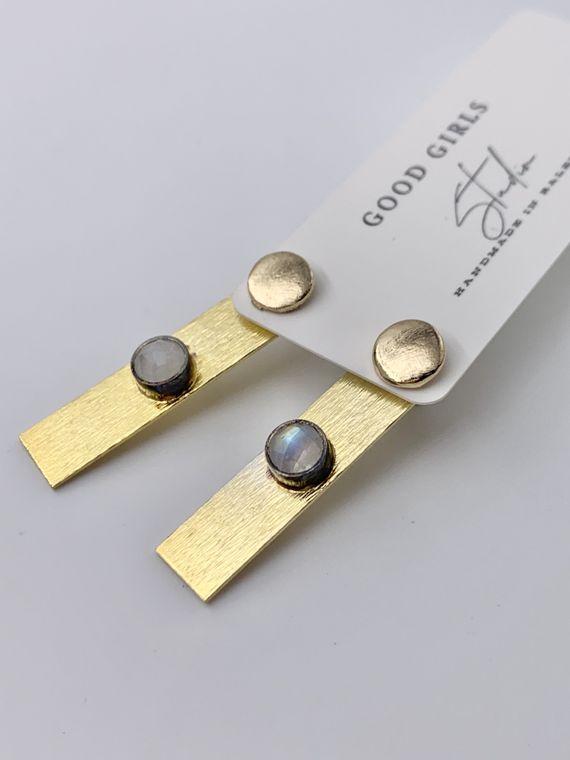 Moonstone Gold Bar Ear Jacket Earrings