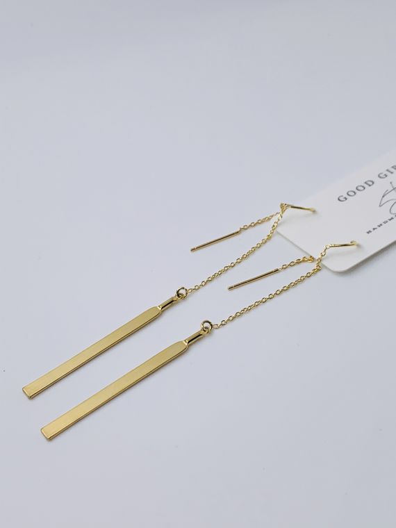 Gold Bar Ear Threader Earrings