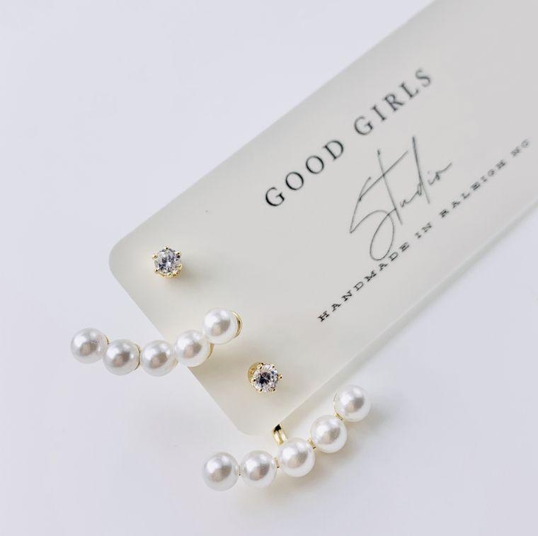 Pearl Wedding Ear Jacket Earrings