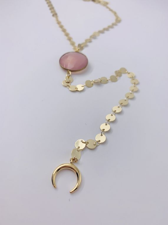 Pink Chalcedony Y Necklace