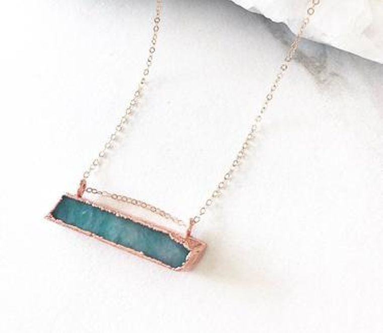 Raw Amazonite Bar Necklace