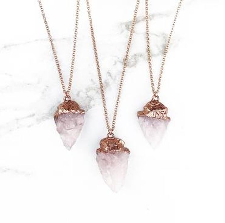 Rose Quartz Arrowhead Pendant