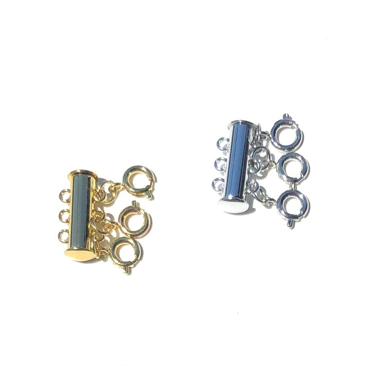 Layered Necklace Spacer-3 Clasps/Silver