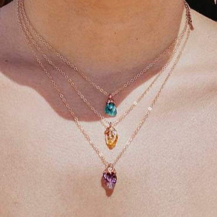 Apatite Dainty Crystal Nugget Necklace