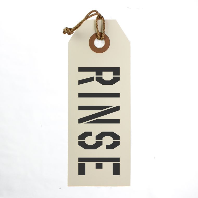 Rinse Hang Tag Sign With Rope Hanger Large