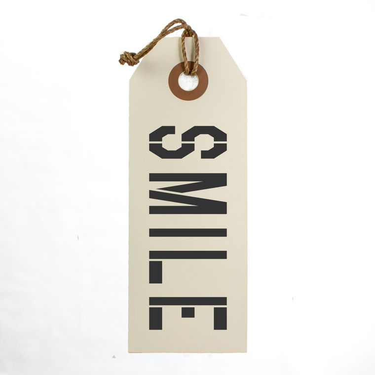 Smile Hang Tag Sign With Rope Hanger Large