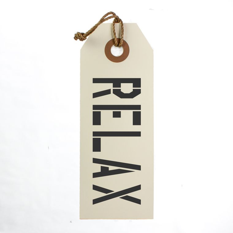 Relax Hang Tag Sign With Rope Hanger Large