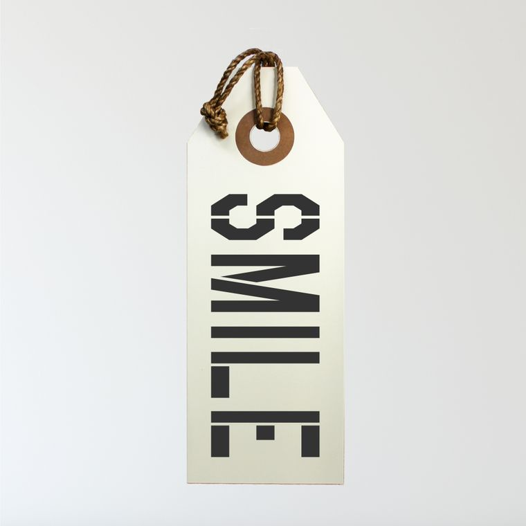 Smile Hang Tag Sign With Rope Hanger Medium