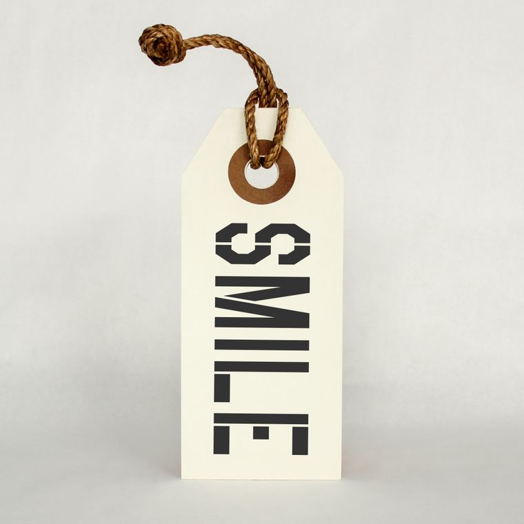 Smile Hang Tag Sign With Rope Hanger Small