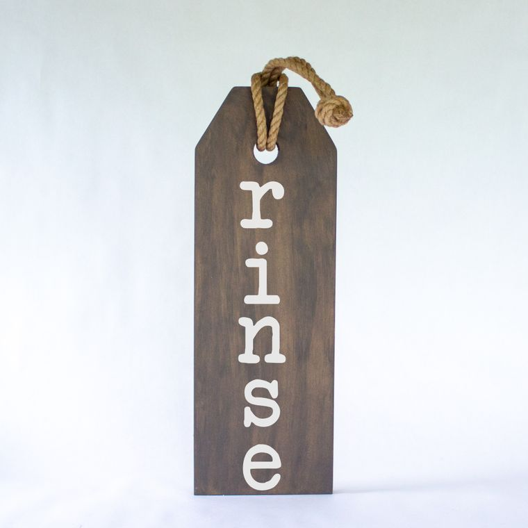 Rinse Hang Wood Tag Sign With Jute Hanger