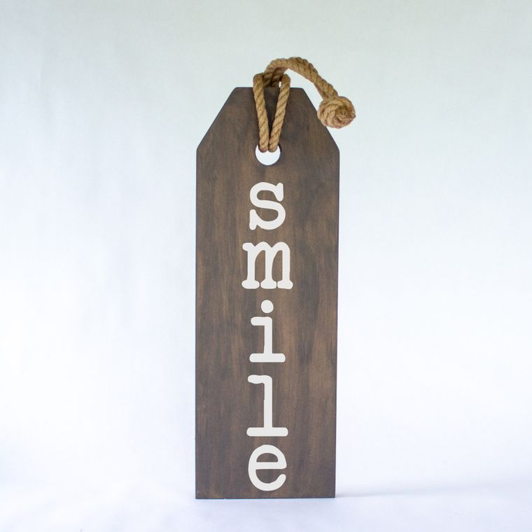 Smile Hang Wood Tag Sign With Jute Hanger