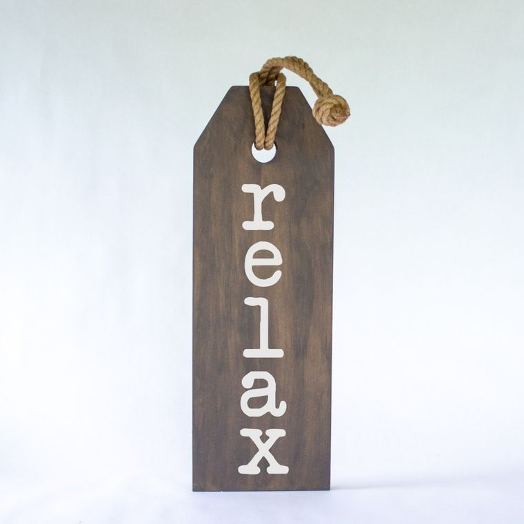 Relax Hang Wood Tag Sign With Jute Hanger
