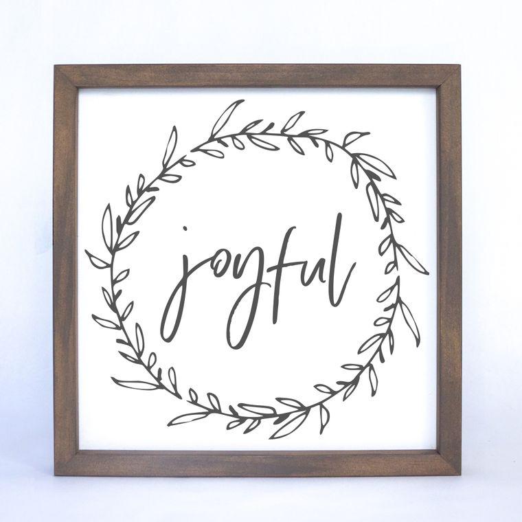 Joyful Wreath Framed Sign