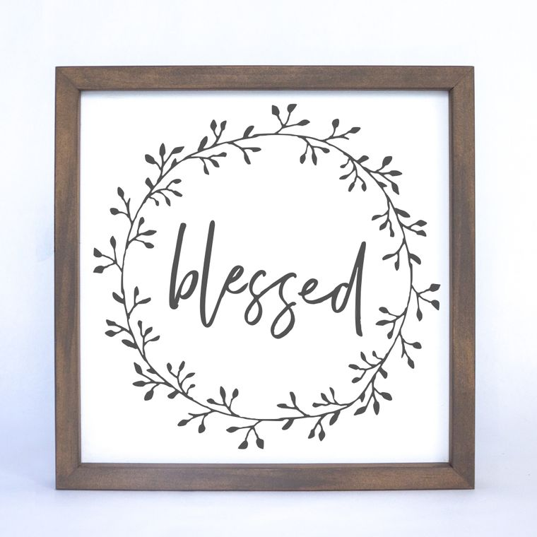 Blessed Wreath Framed Sign