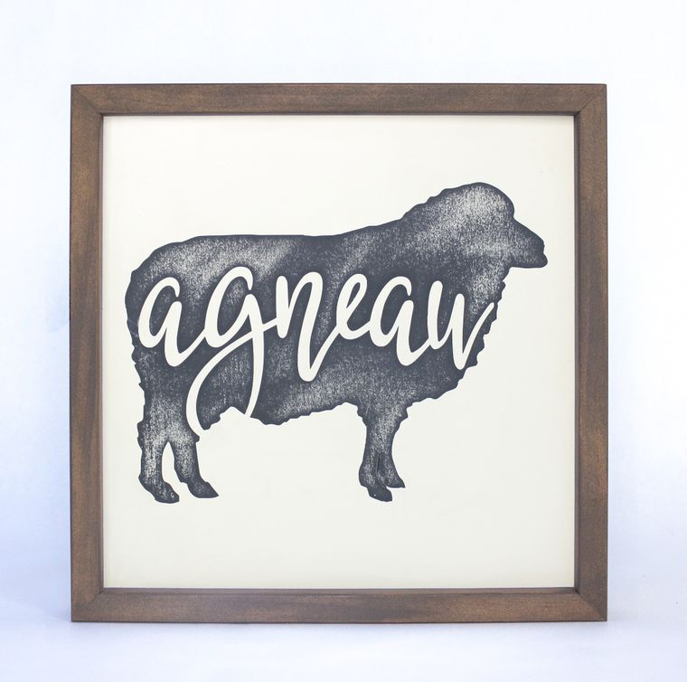 French Sheep Agneau Framed Sign