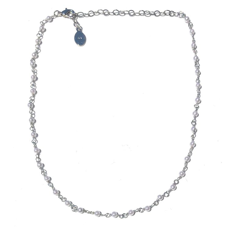 Mini Pearl Choker-Silver