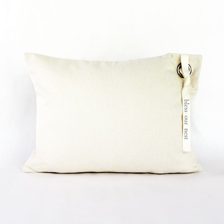 Bless This Nest Canvas Grommet Pillow