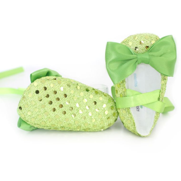 Peridot green baby booties shoes 6-9 months Textile sequin shoes soft sole