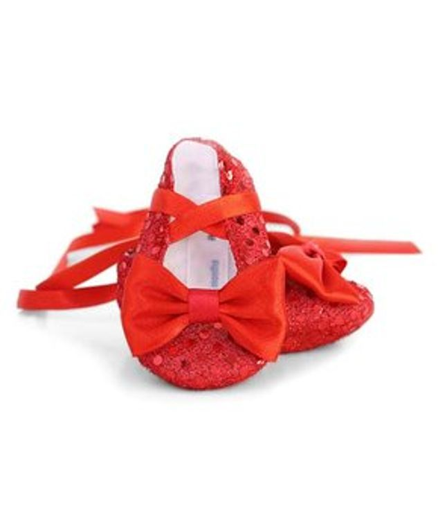 Ruby red baby booties shoes Newborn 3-6 month old Textile sequin shoes soft sole