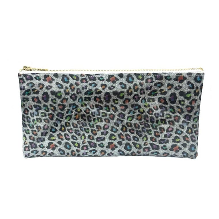 rainbow leopard clutch