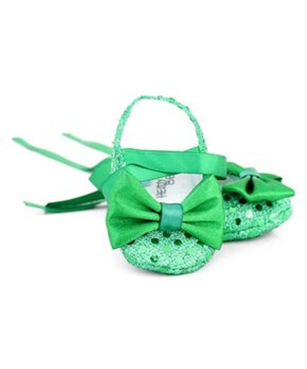 Emerald Green baby booties shoes Newborn 0-3 months Textile sequin shoes soft sole