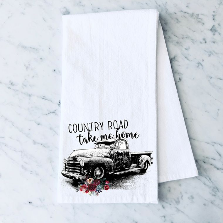 Country Road, Take Me Home Vintage Truck Cotton Flour Sack Towel