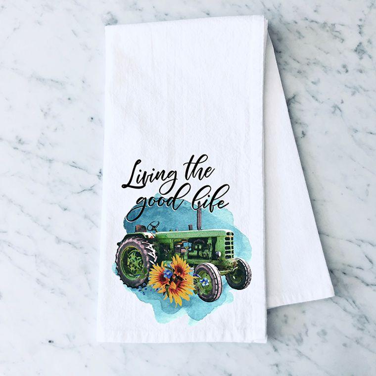 Living the Good Life Tractor Cotton Flour Sack Towel