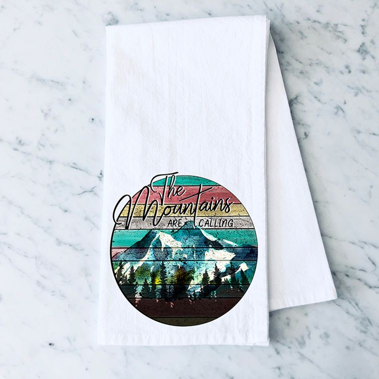 The Mountains are Calling and I must Go Cotton Flour Sack Towel
