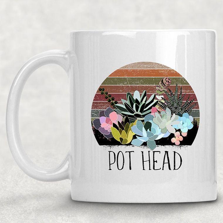 Pot Head Floral Funny Adult Themed 11 oz. Mug