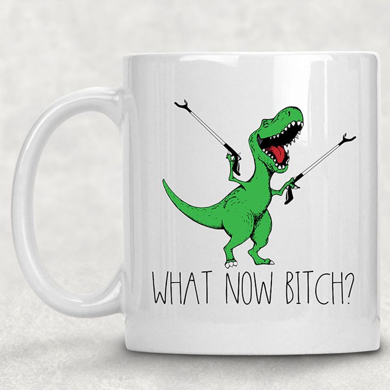 What Now Bitch? T-Rex Dinosaur Funny Adult Themed 11 oz. Mug