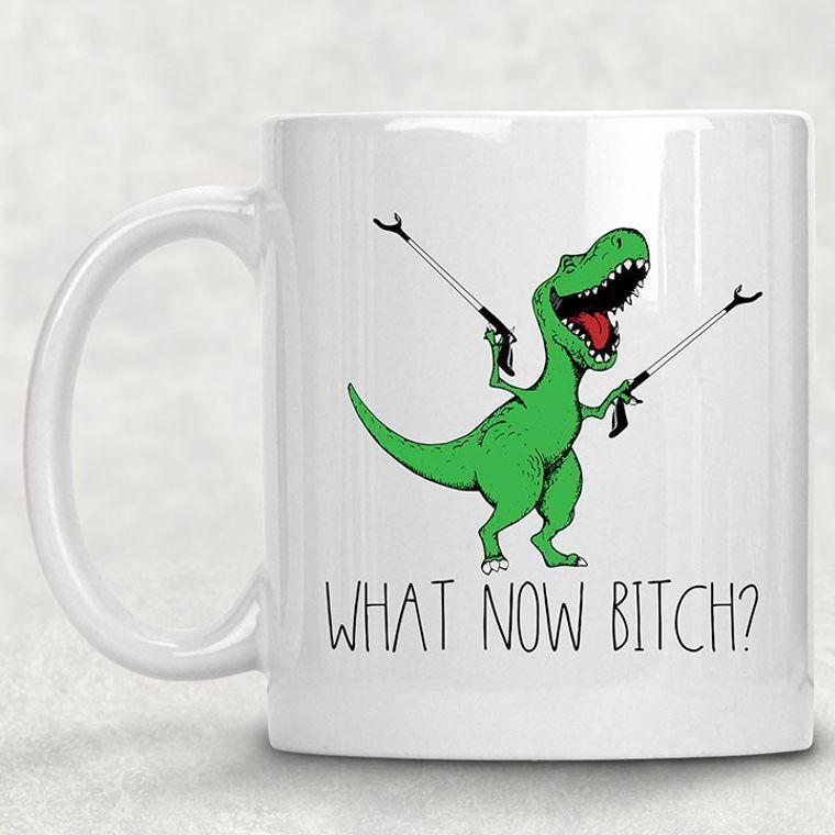 What Now Bitch? T-Rex Dinosaur Funny Adult Themed 11 oz. Mug