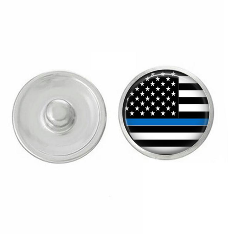 USA - Thin Blue Line - Police Flag - Snap Jewelry - America