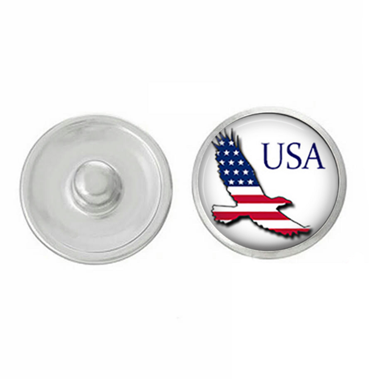 USA - Red White and Blue Eagle - Snap Jewelry - America