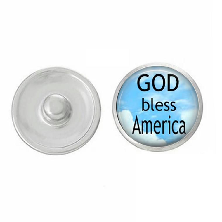 USA - America - God Bless America - Snap Jewelry