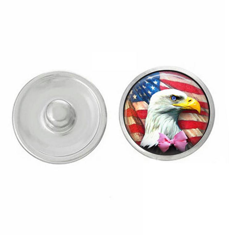 USA - Eagle - God Bless America - Snap Jewelry