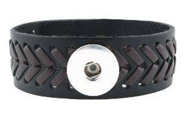 Bracelet - Brown Woven Leather Cuff Style Bracelet