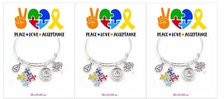 Say It In A Snap - Autism Charm Bracelets w/Card