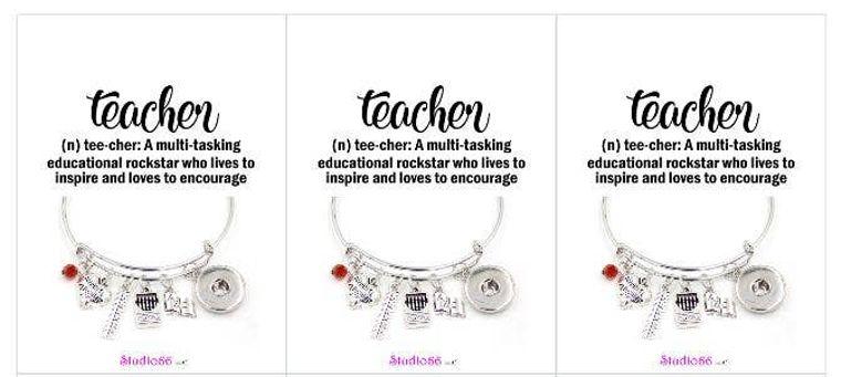 Say It In A Snap - Teacher Charm Bracelet w/Card