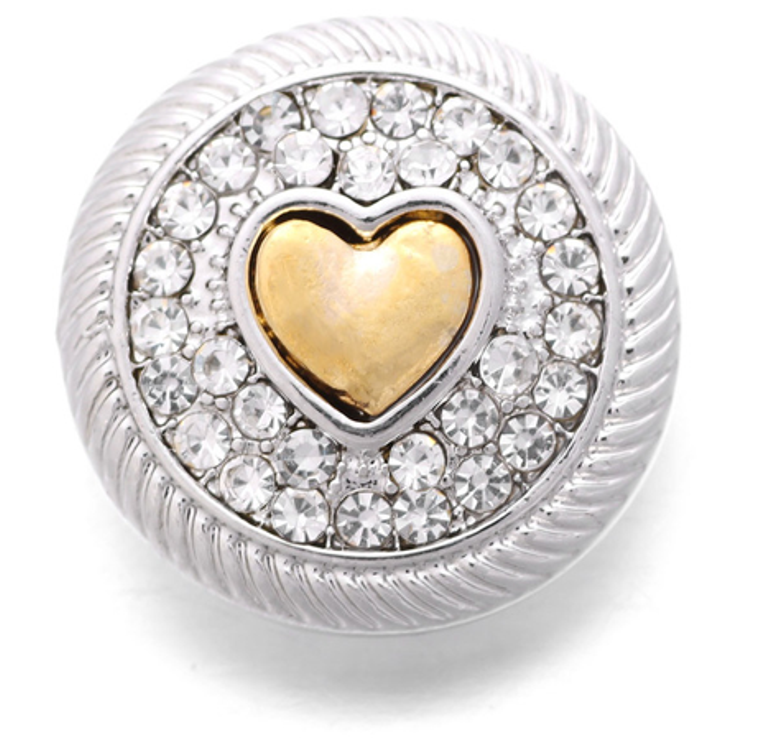 Sparkle Heart Snap- For 18-20mm Snap Jewelry