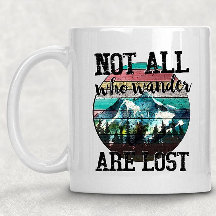 Not all Who Wander are Lost Vintage Floral Camper 11 oz. Ceramic Mug