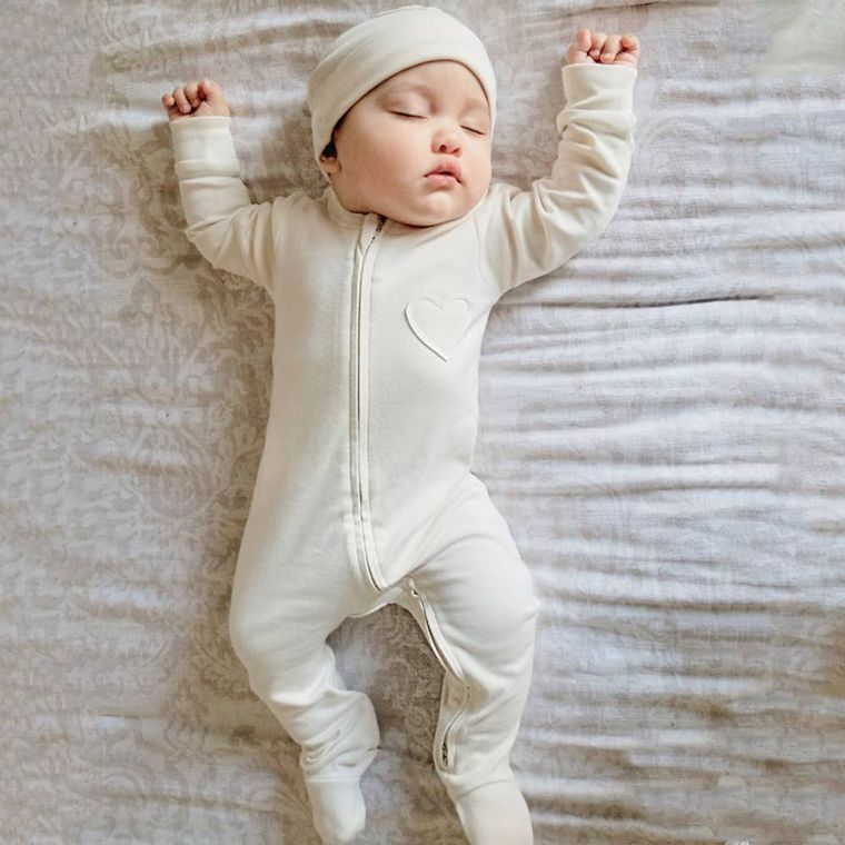 Nature's Hug: Organic Baby Unisex Romper/Jumpsuit-Unbleached and Undyed