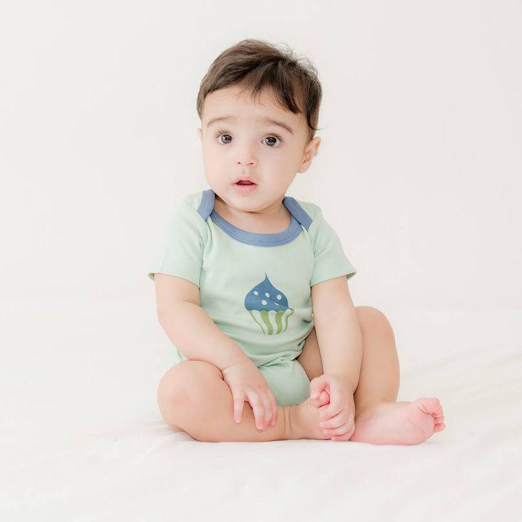 Li'l Birdie's Tea party:  Cupcake Unisex Organic Baby Bodysuit
