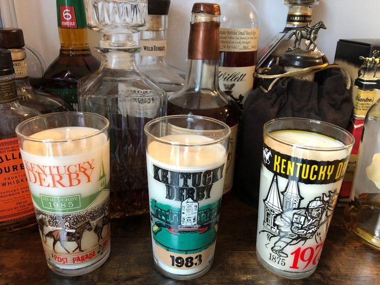 Kentucky Derby Glass Candle