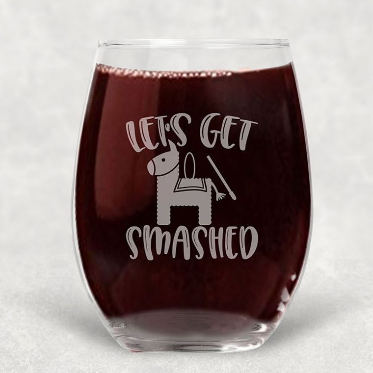 Let's Get Smashed Pinata Engraved Stemless Wine Glass - 21 oz.